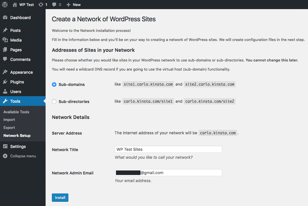How to choose subdomains during WordPress Multisite install