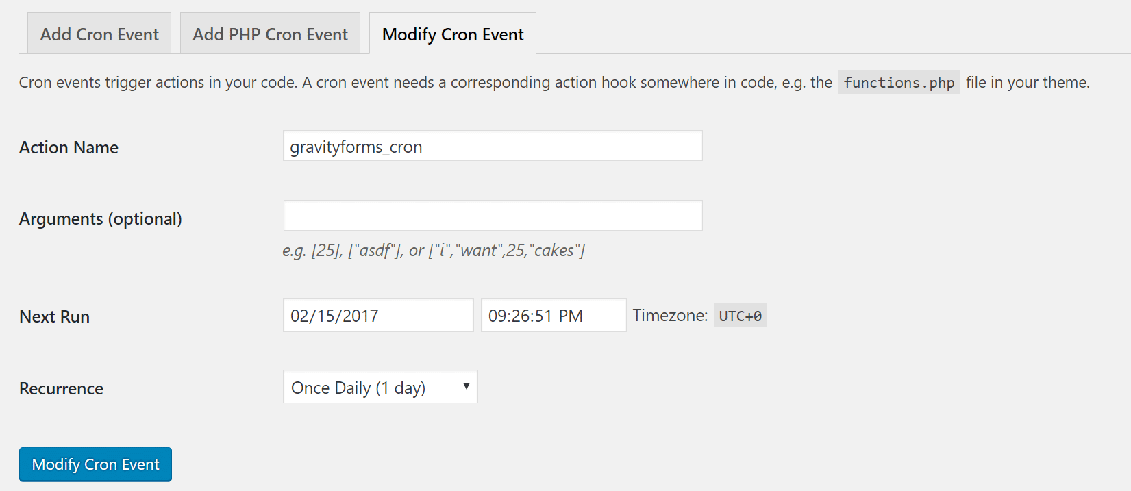 modify cron event