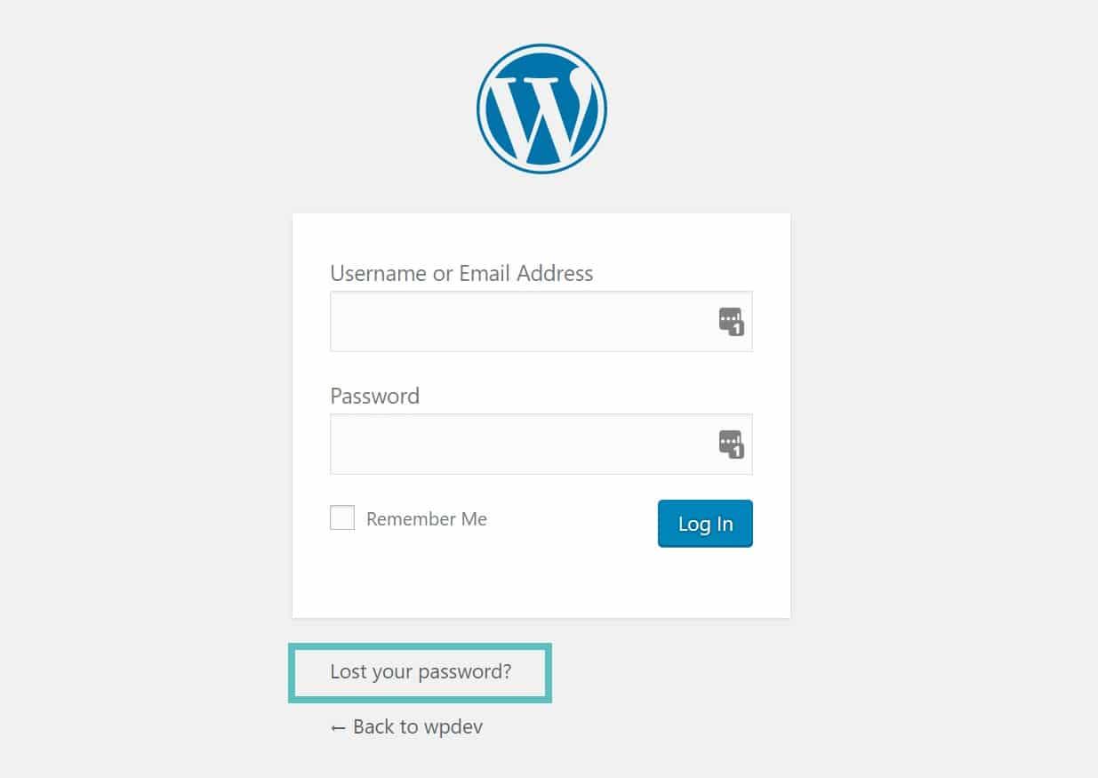 lost password wordpress admin
