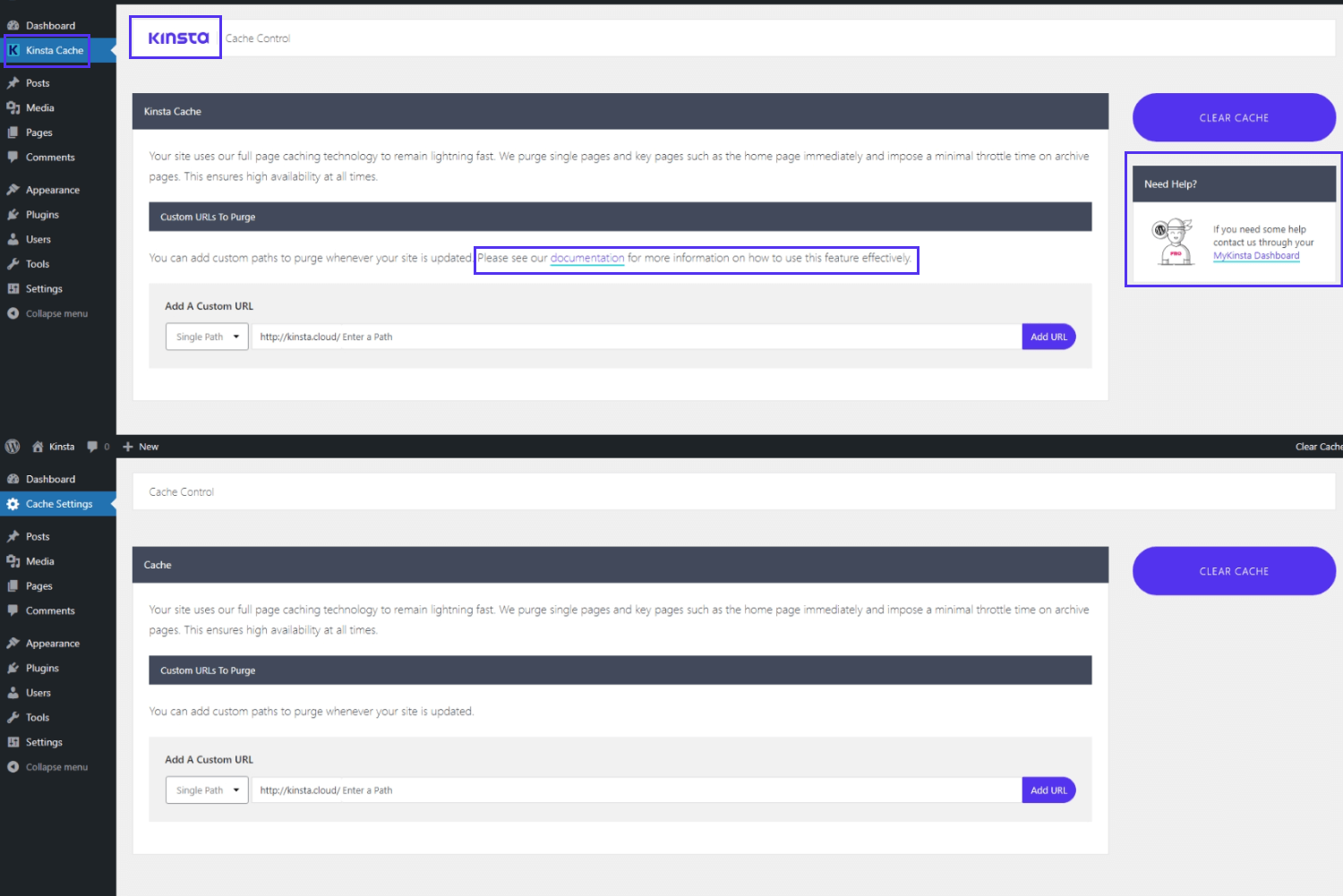 Before and after white labeling the Kinsta MU plugin in your WordPress dashboard.