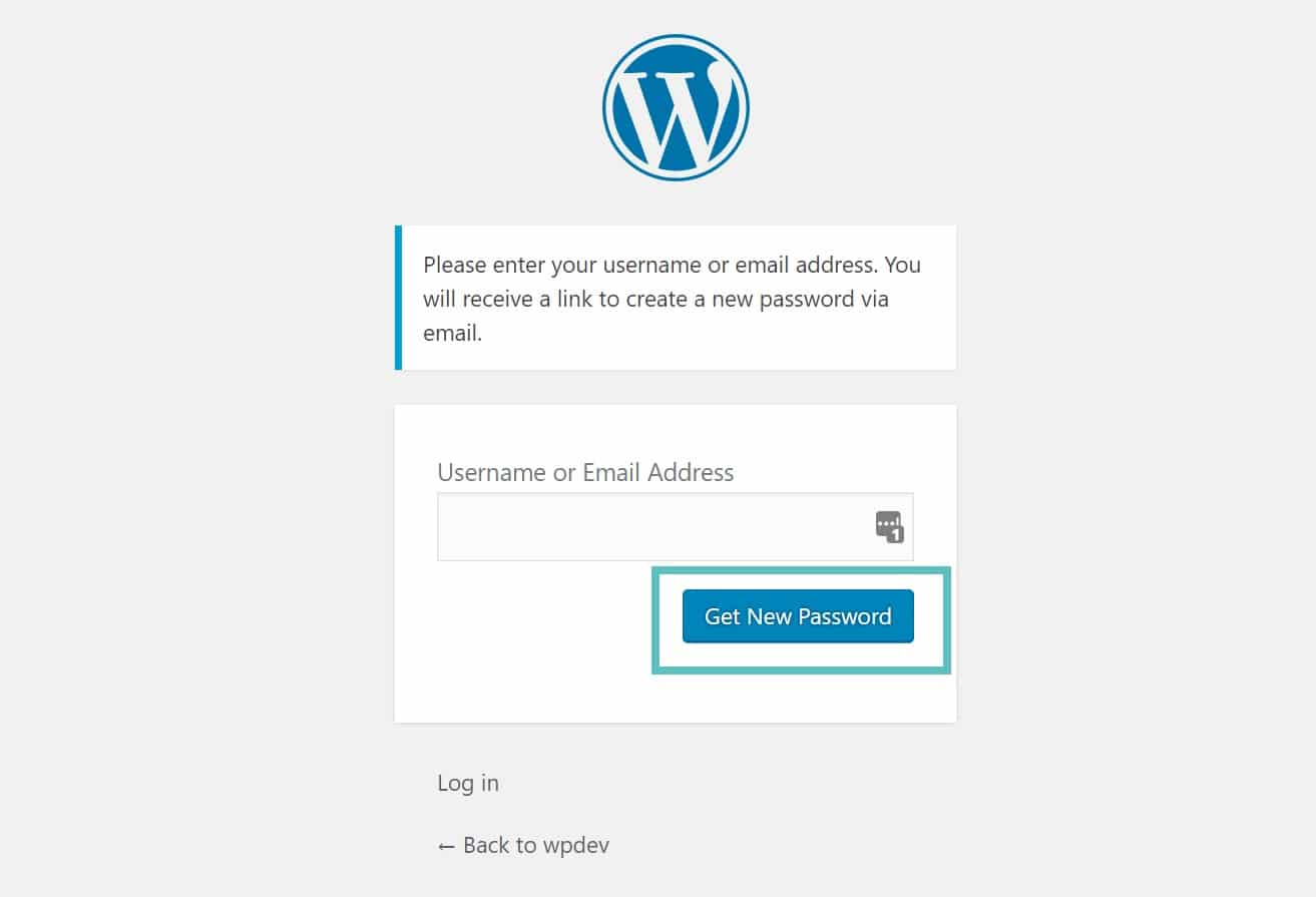 wordpress get new password
