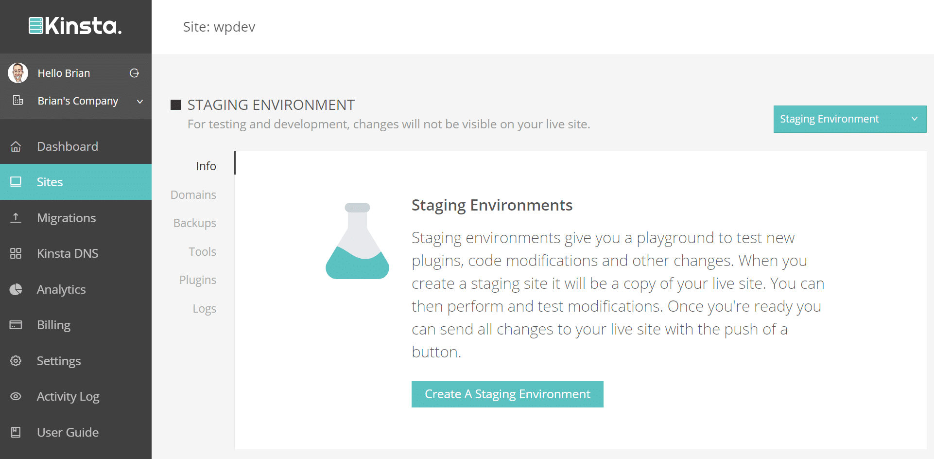 create a staging environment