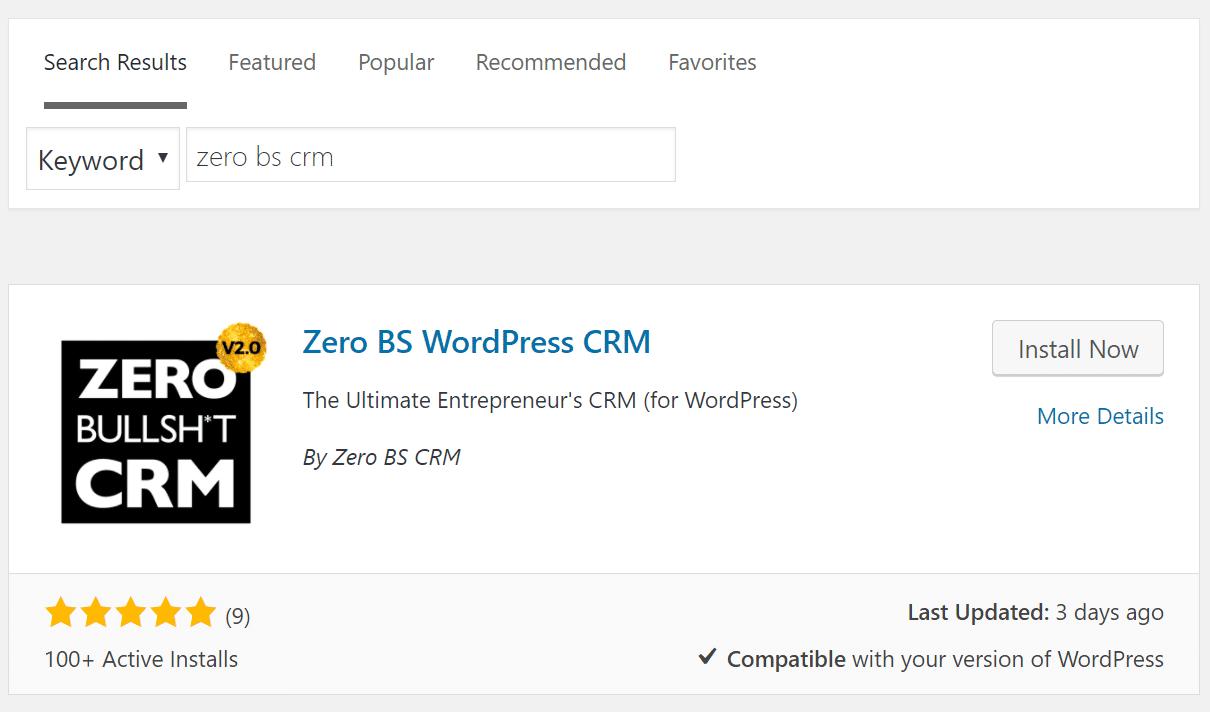 install zero bs crm