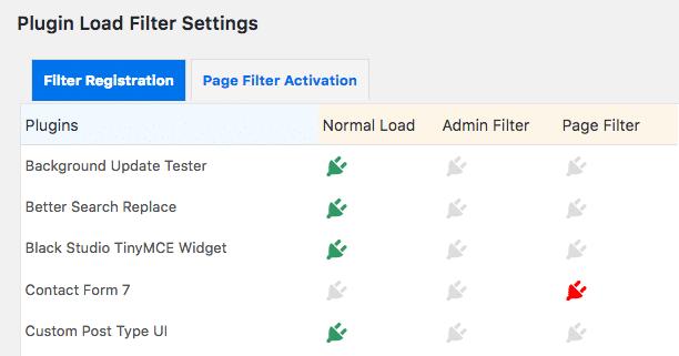 Plugin Load Filter settings