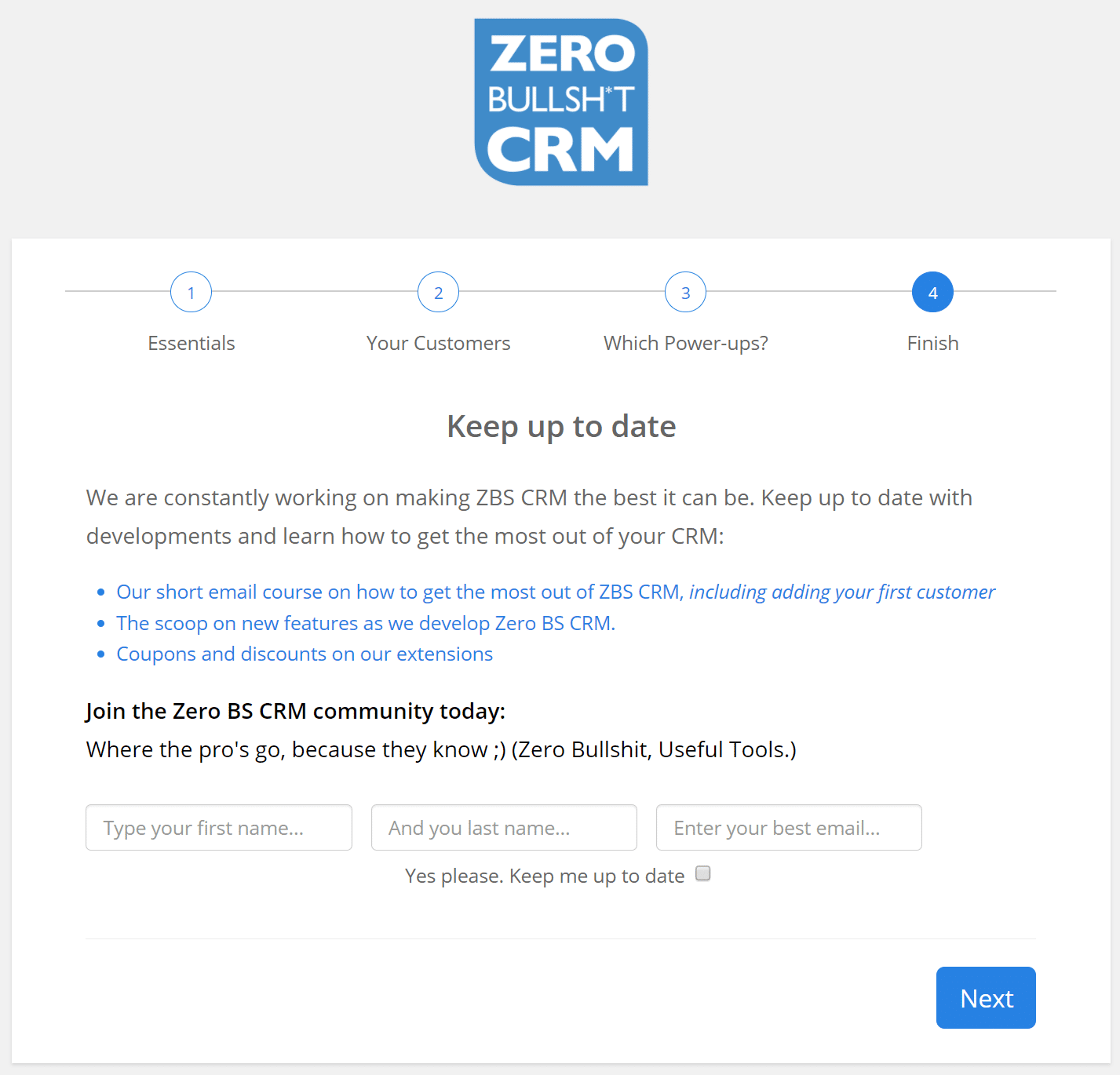 zero bs crm finish