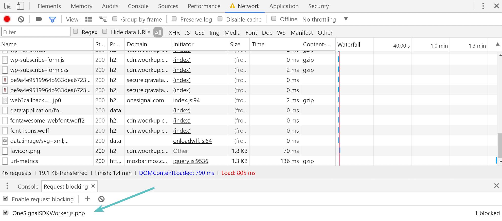 Block request in Chrome Devtools