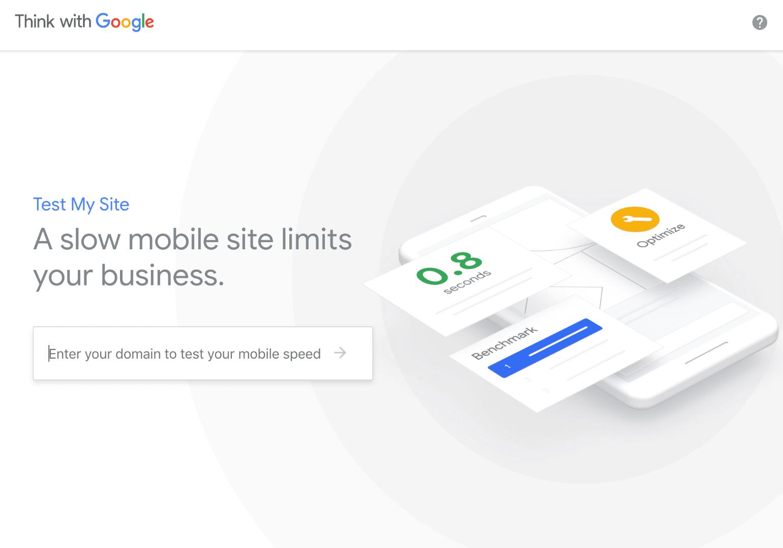 Outil de test de vitesse pour site web mobile Google