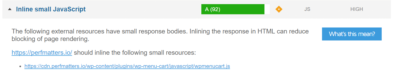 gtmetrix inline small javascript