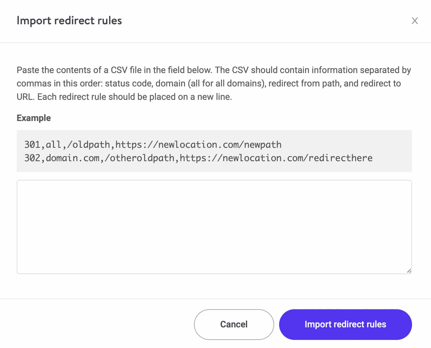 Paste and import redirect rules in bulk.