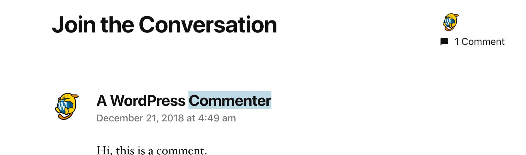 Aucun lien de commentaire