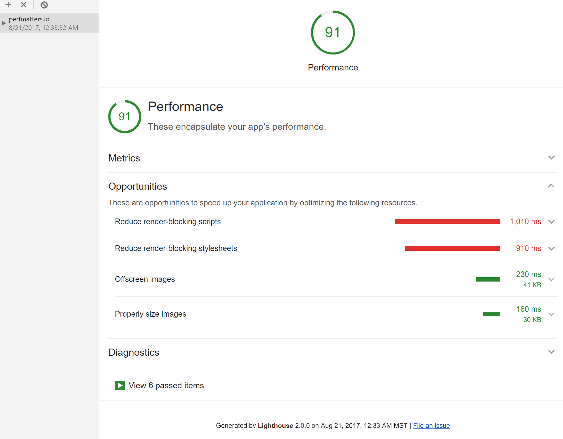 Web performance audit Chrome Devtools