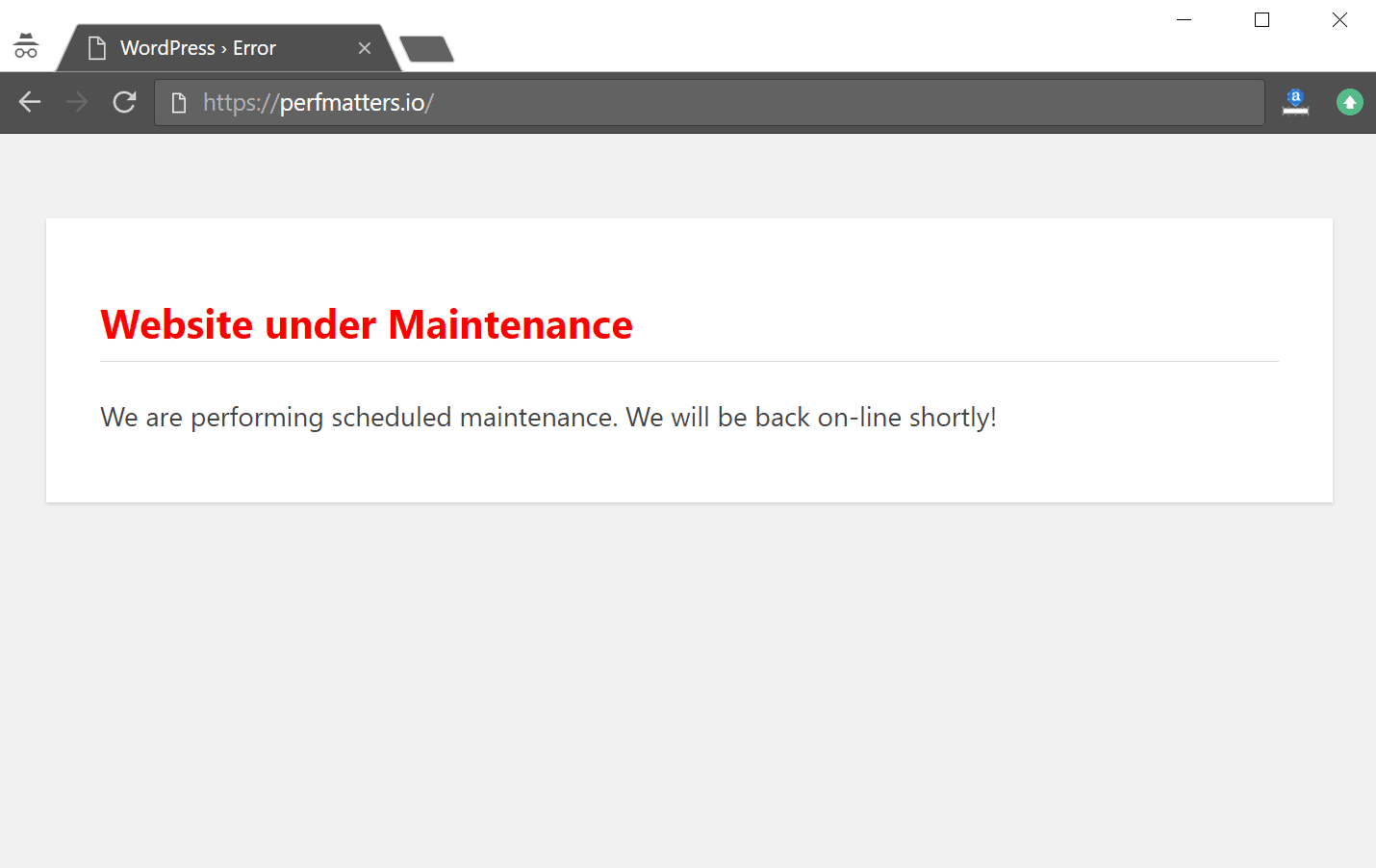 wordpress maintenance mode with code
