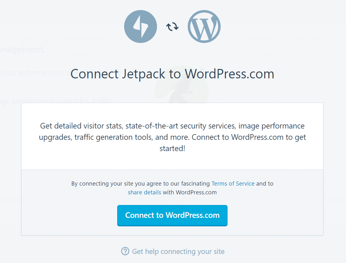 connect jetpack to wordpress