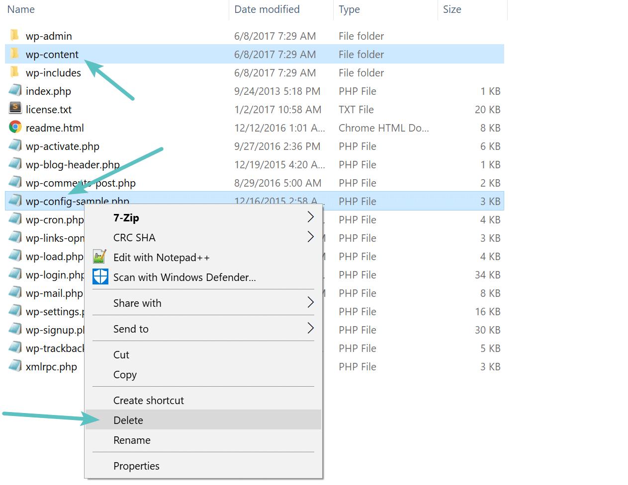 Delete wp-content folder
