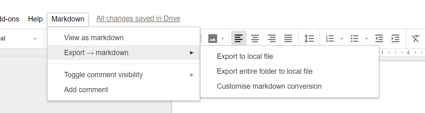 Export Google Docs to markdown