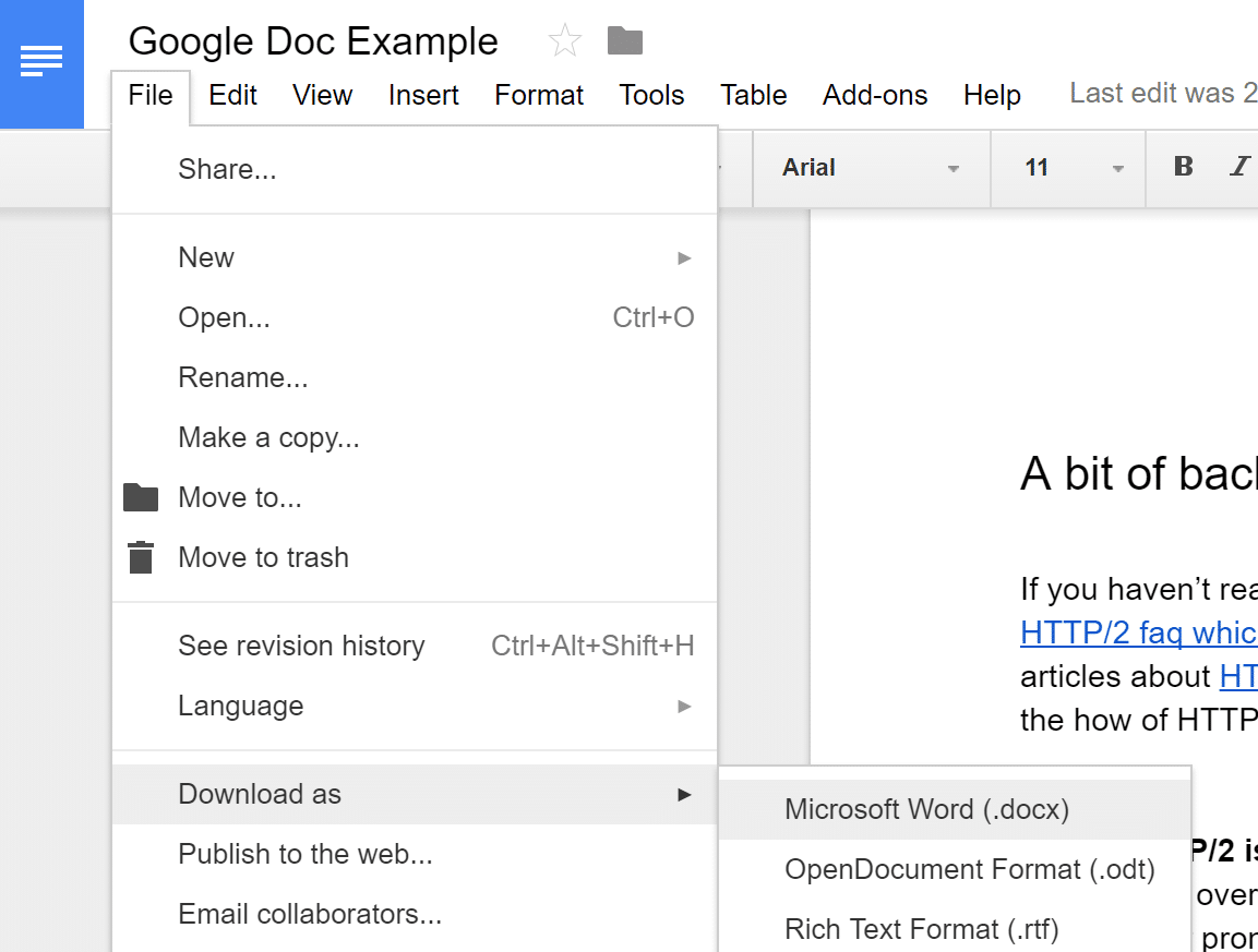 Google Doc download as .docx