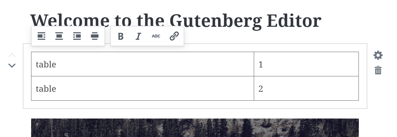 Gutenberg tables