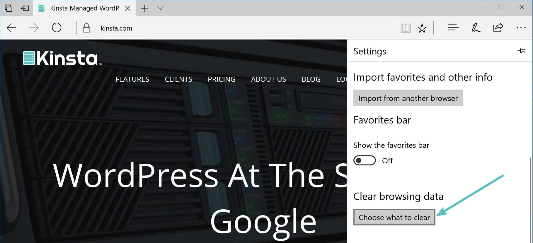Choose what to clear in Microsoft Edge
