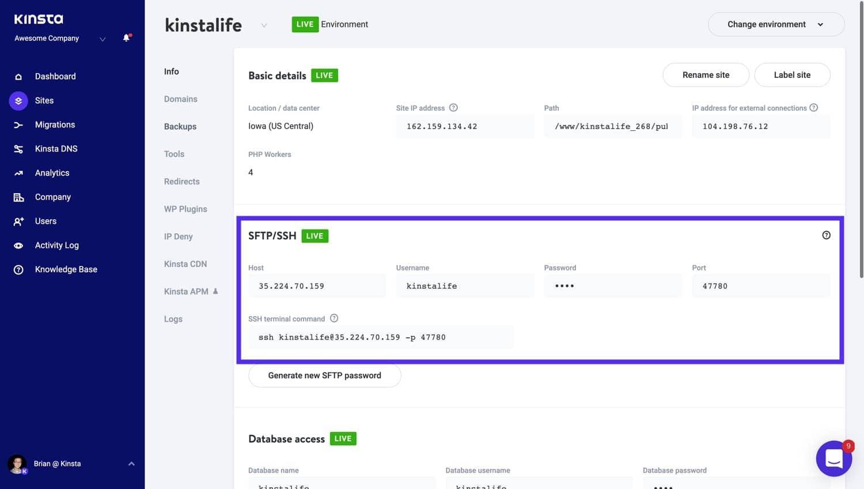SFTP/SSH details in MyKinsta.