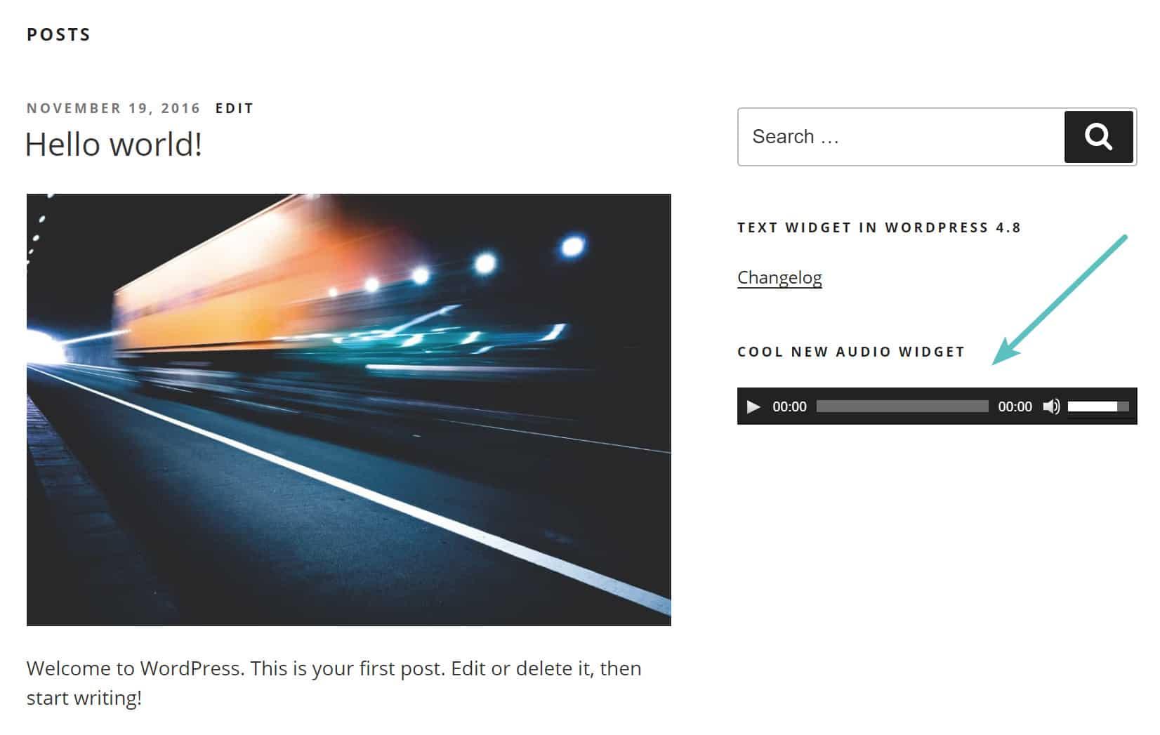new audio widget sidebar