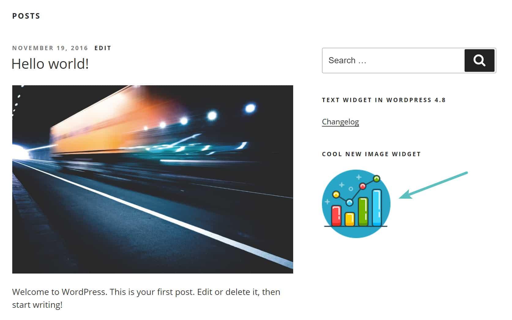 new image widget sidebar