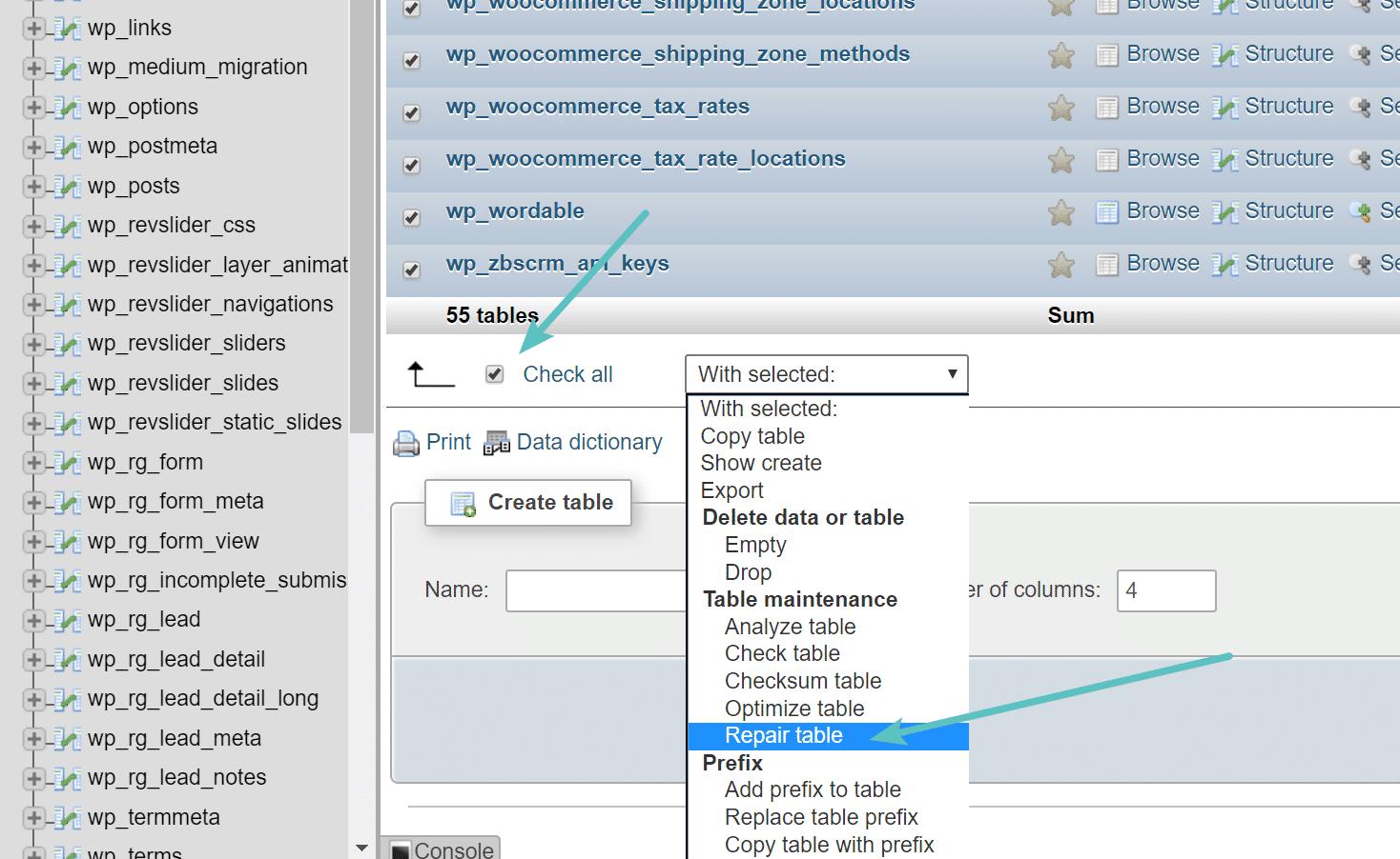 Repair tables in phpMyAdmin
