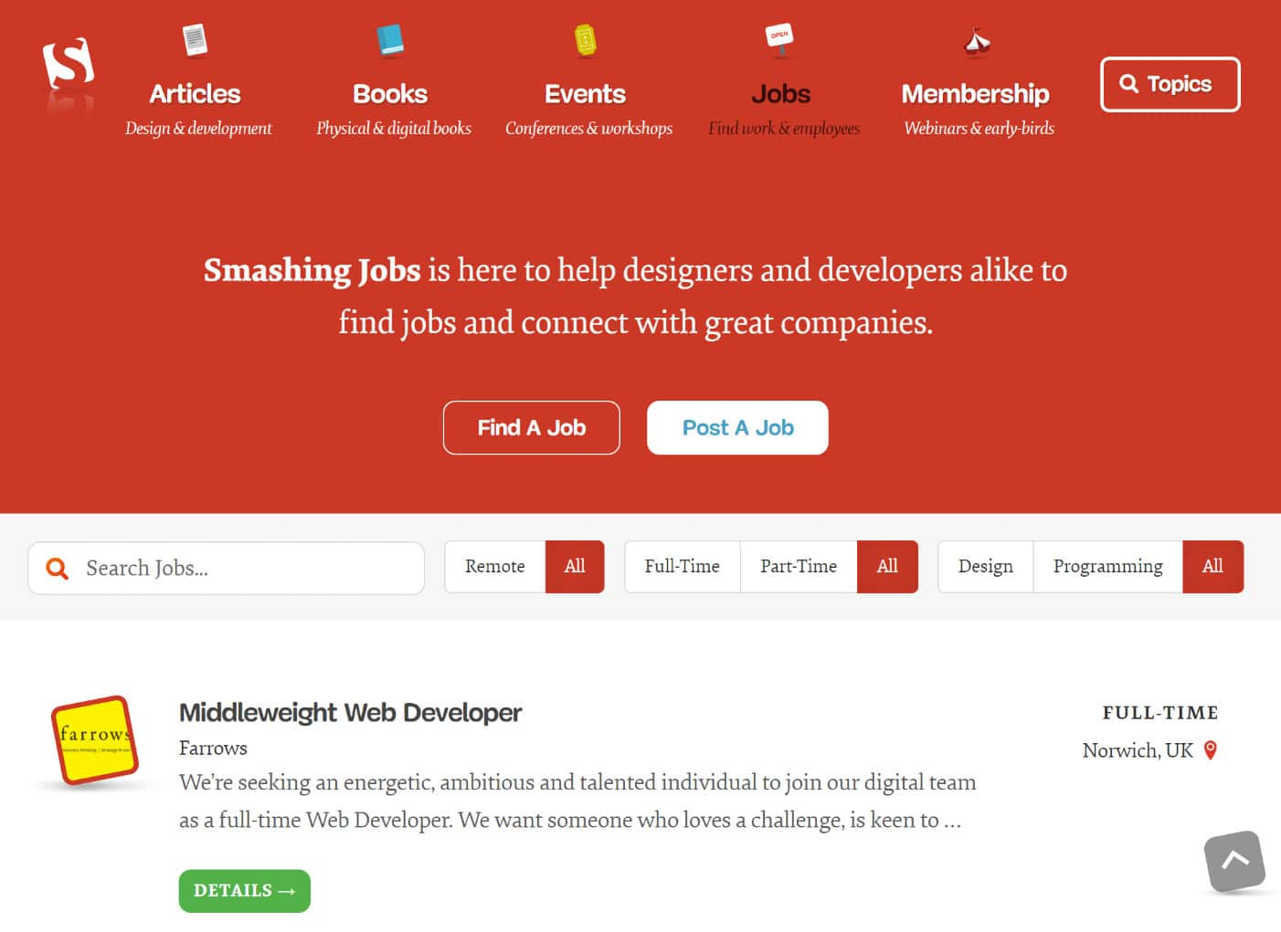 WordPress job listings at Smashing Magazine