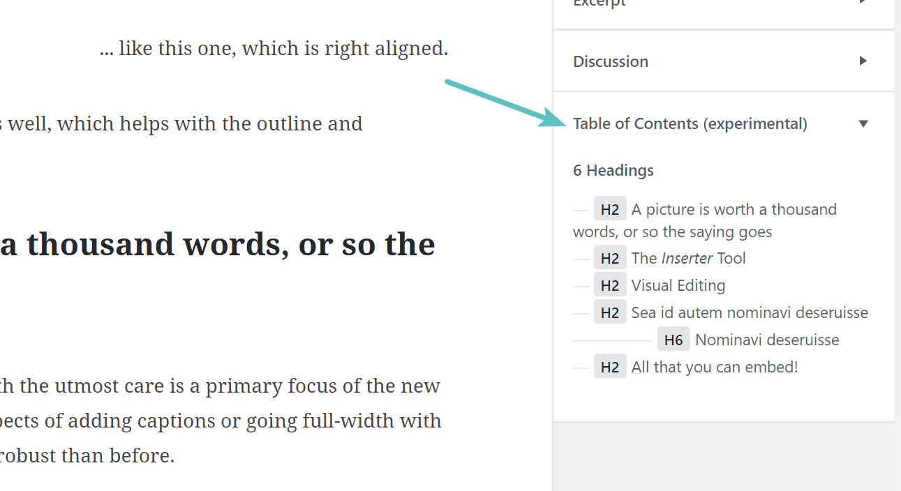 Tables of contents in Gutenberg