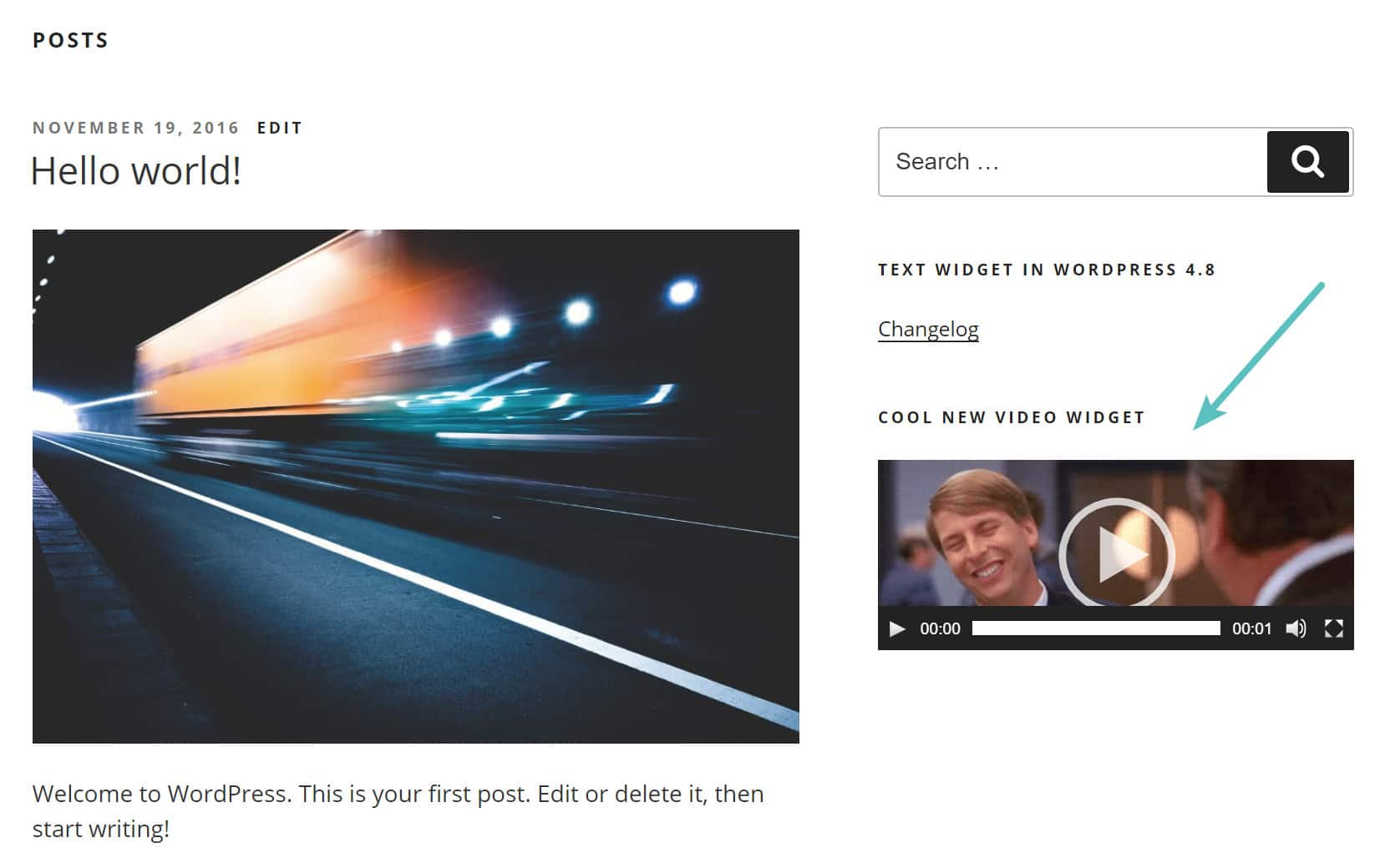video widget on wordpress sidebar
