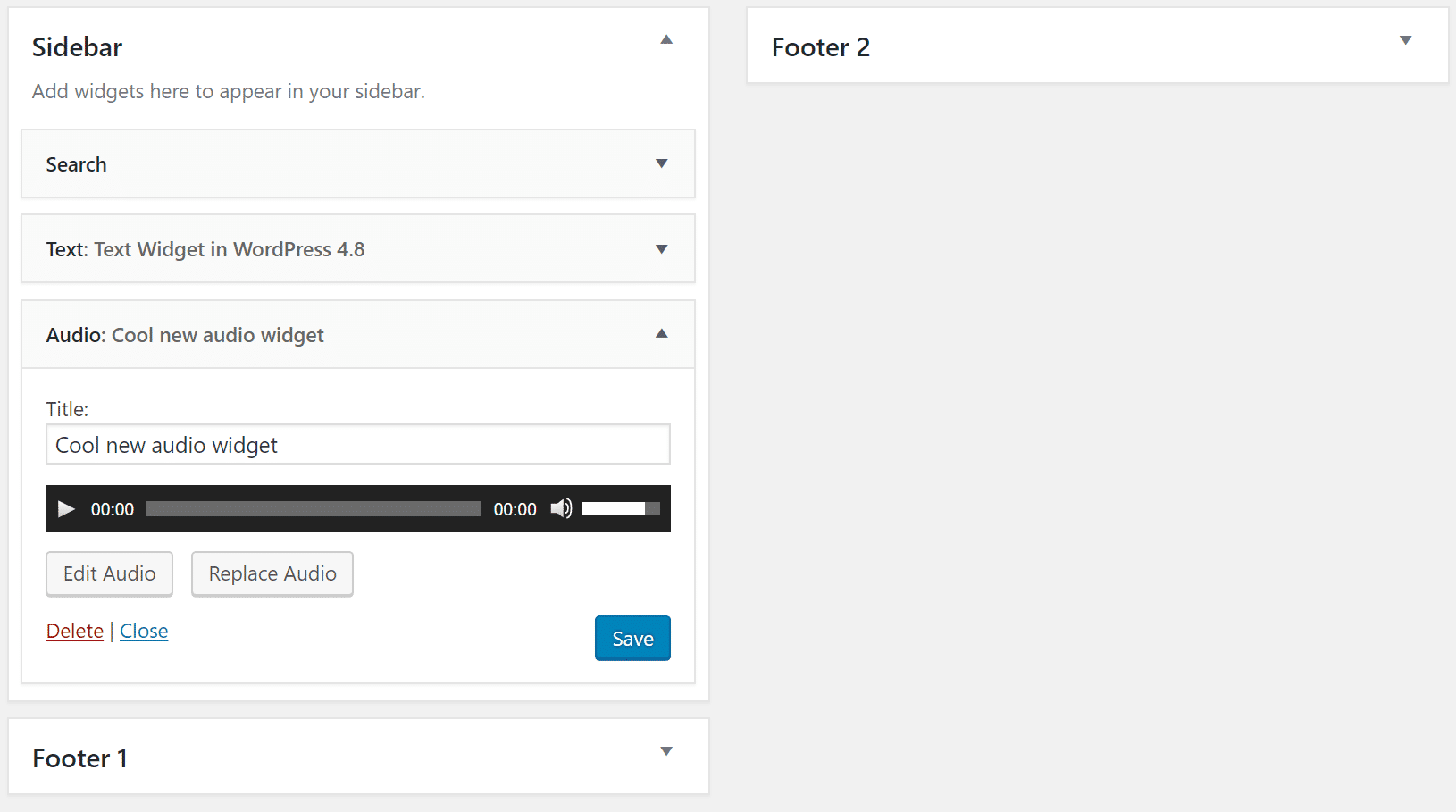 wordpress 4.8 audio widget
