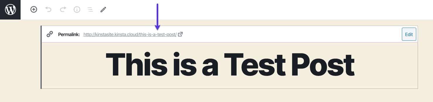 Permalink settings in the WordPress editor.