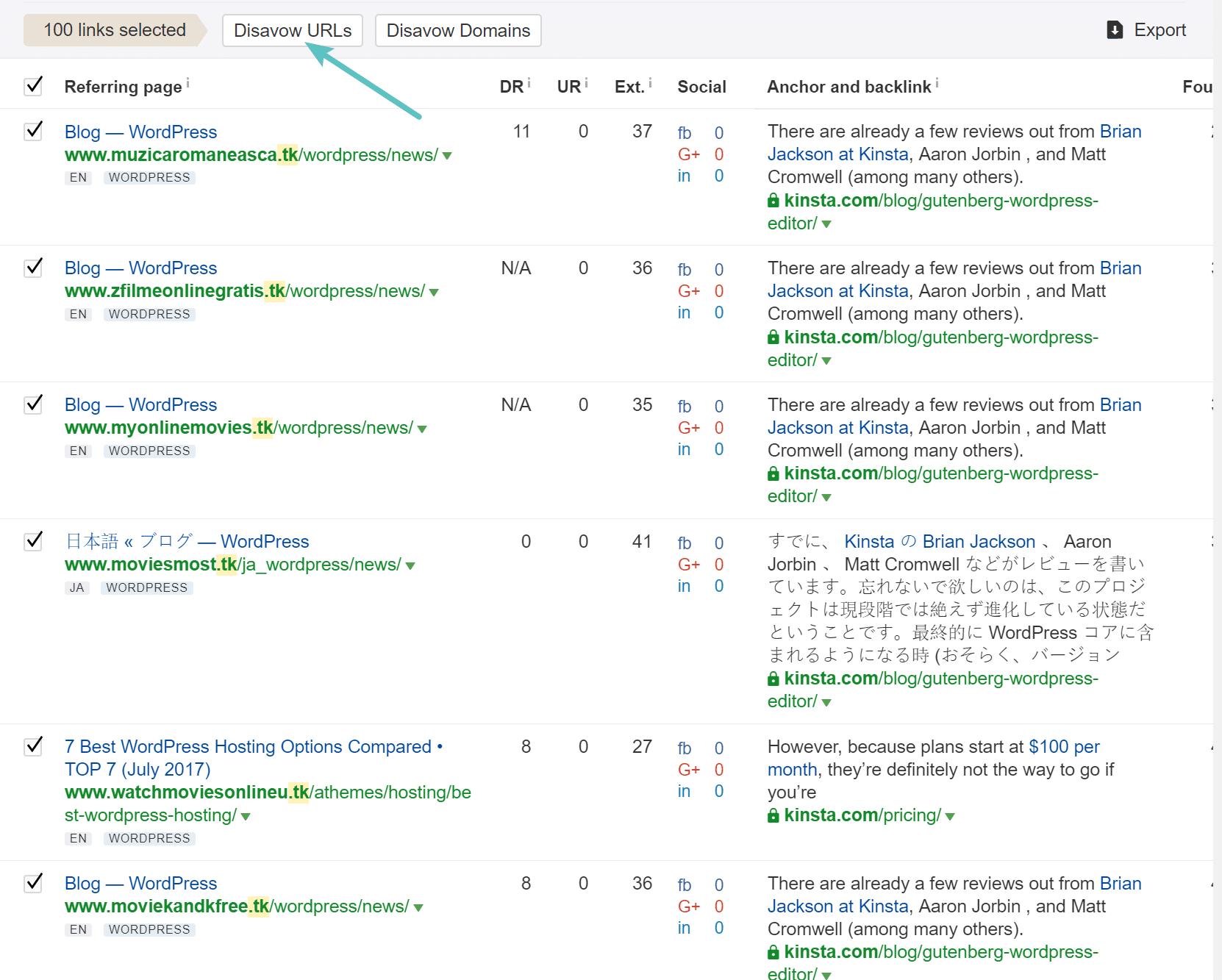 Ahrefs disavow URLs
