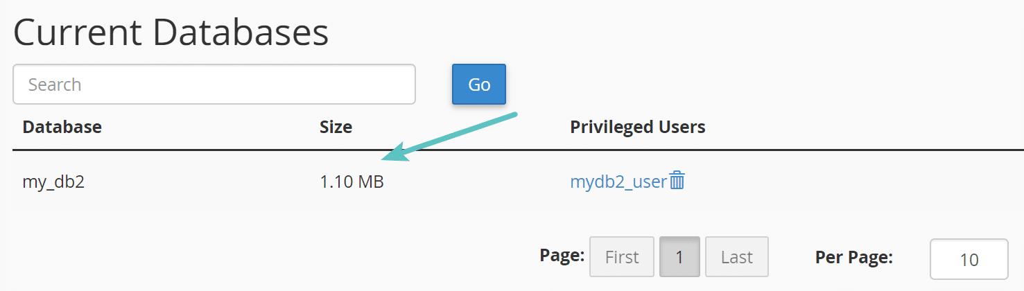 cpanel mysql database size