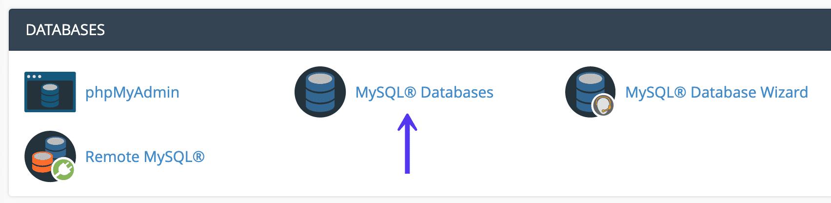 cPanel MySQL databases