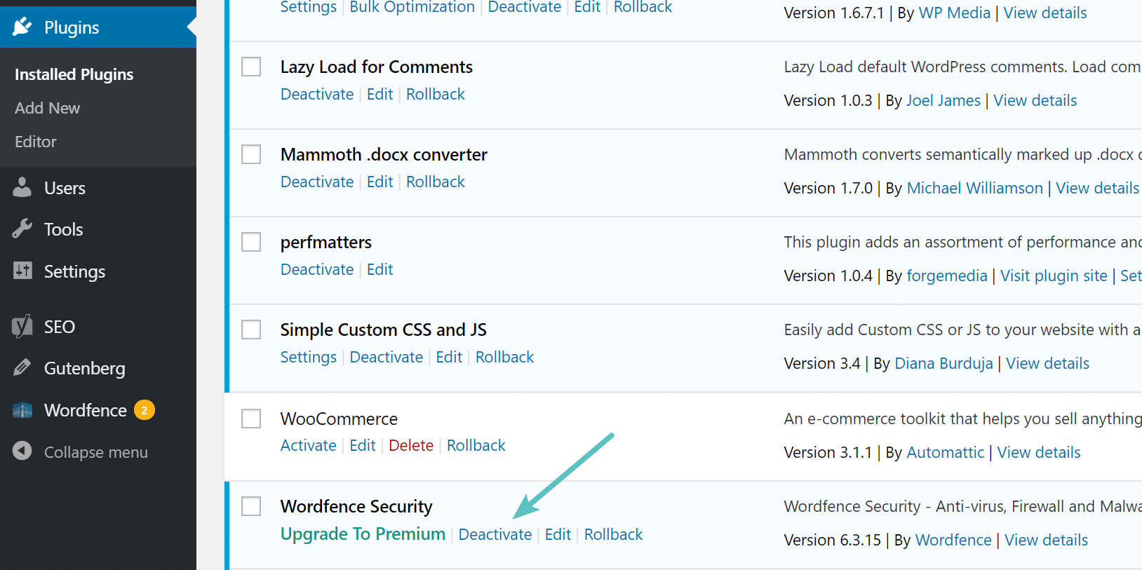 Deactivate WordPress plugin