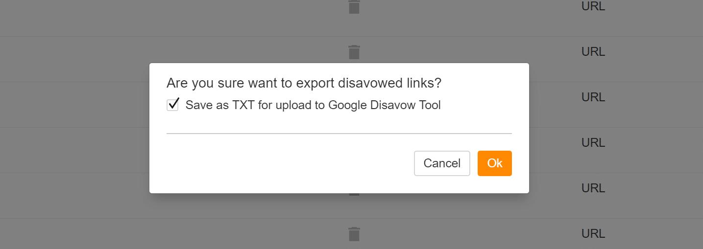 Save TXT disavow