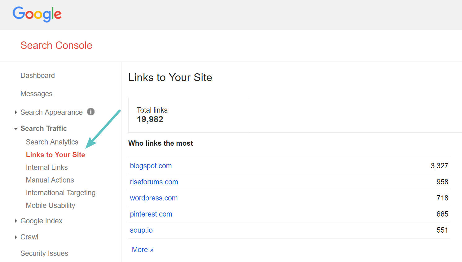 Backlinks in Google Search Console