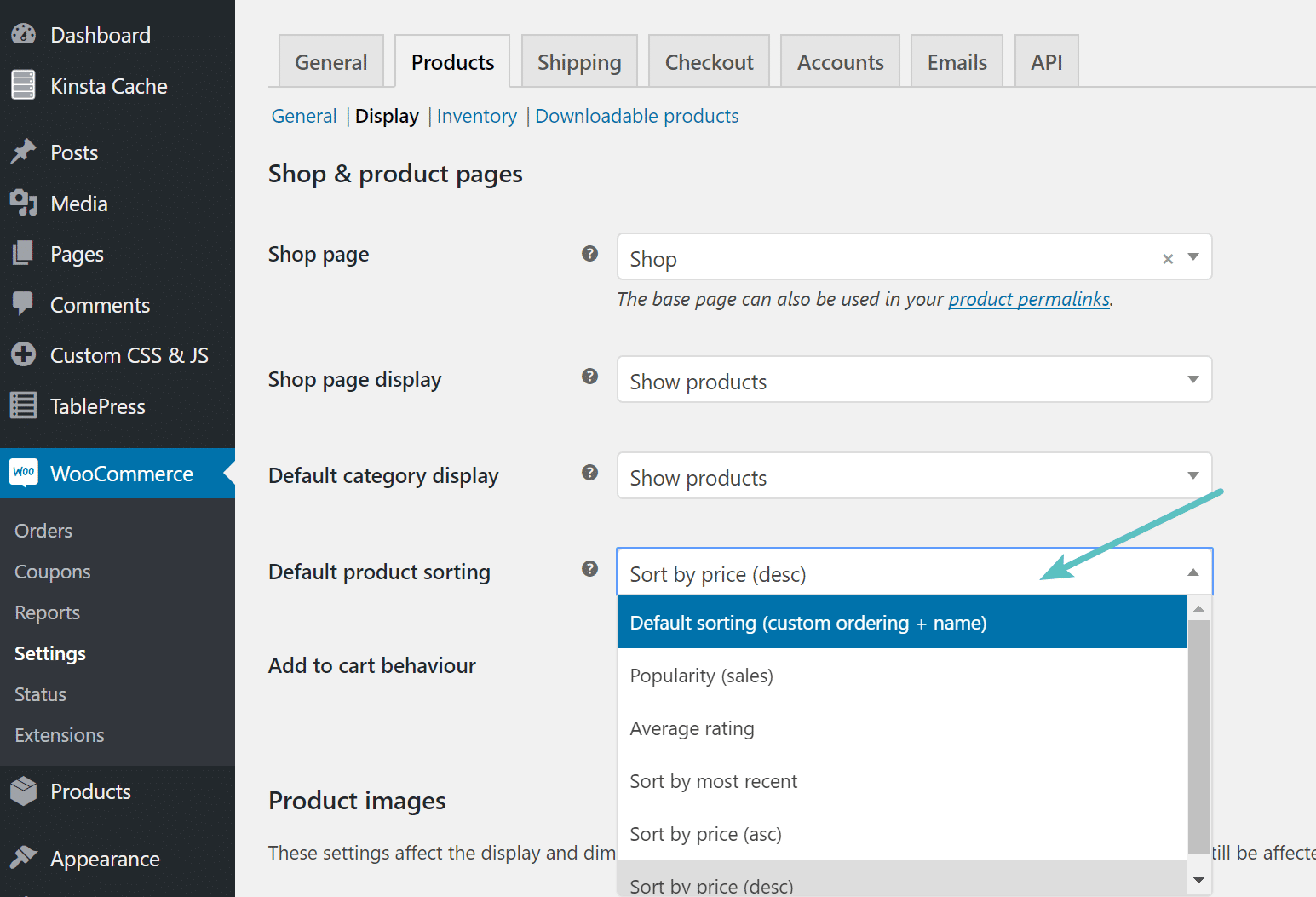 WooCommerce default product sorting