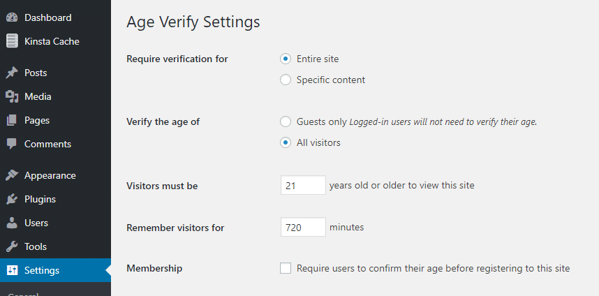 wordpress age verification plugins settings panel