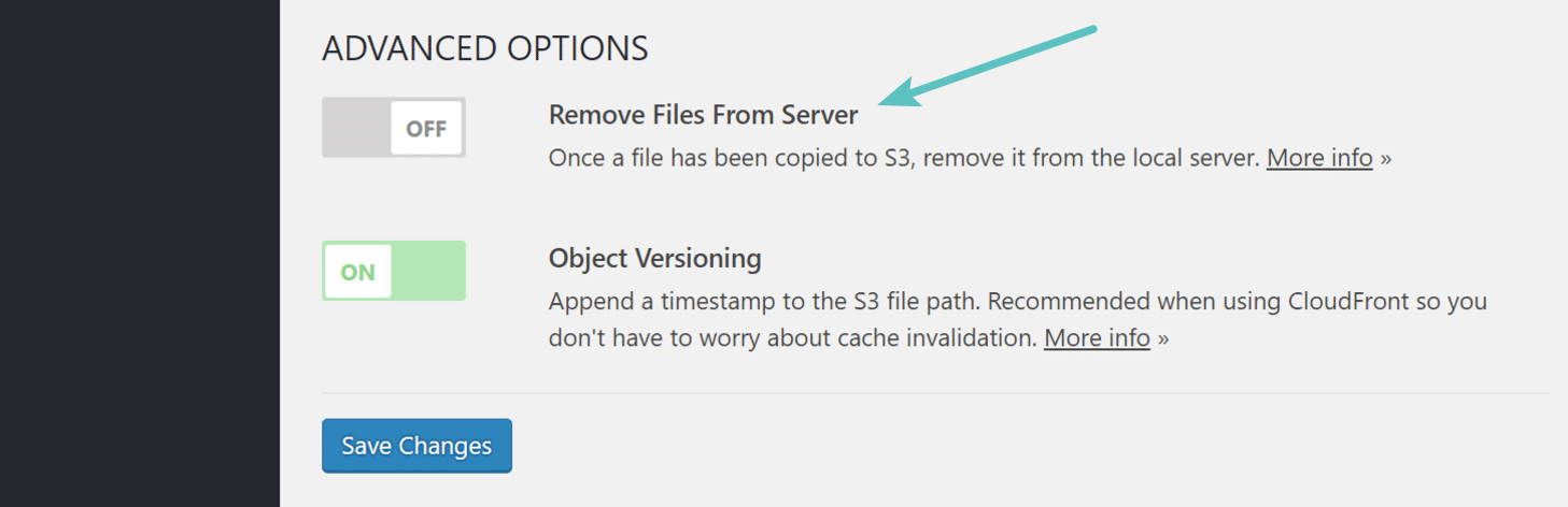 Remove files from local server