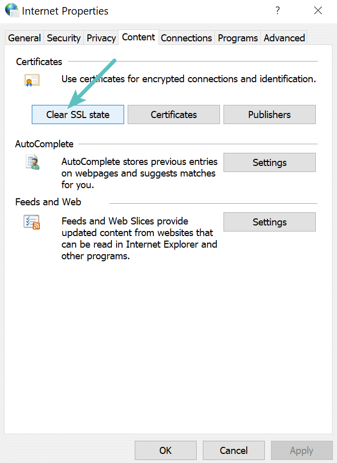 Clear SSL state in Chrome on Windows