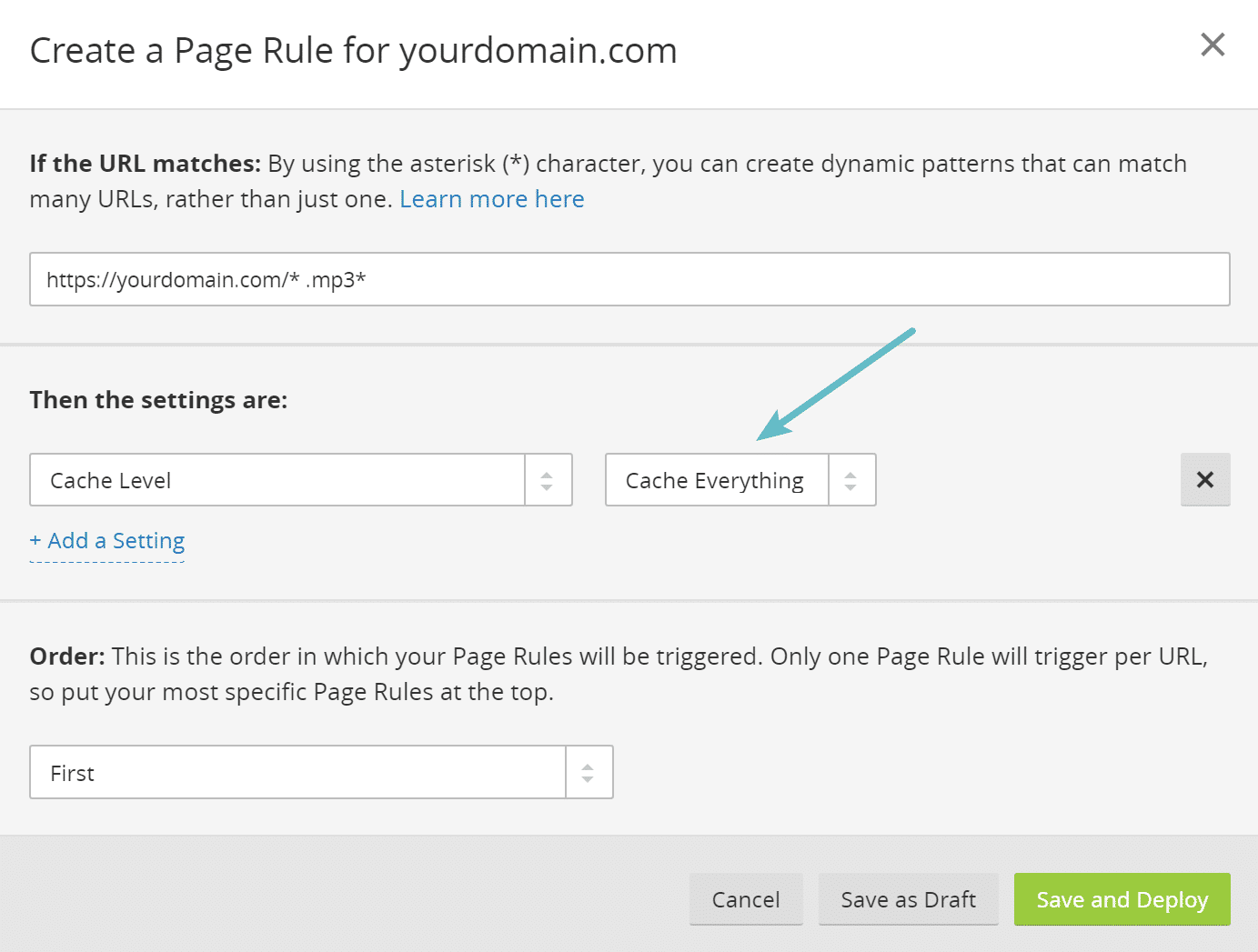 Cloudflare page rule to cache .mp3