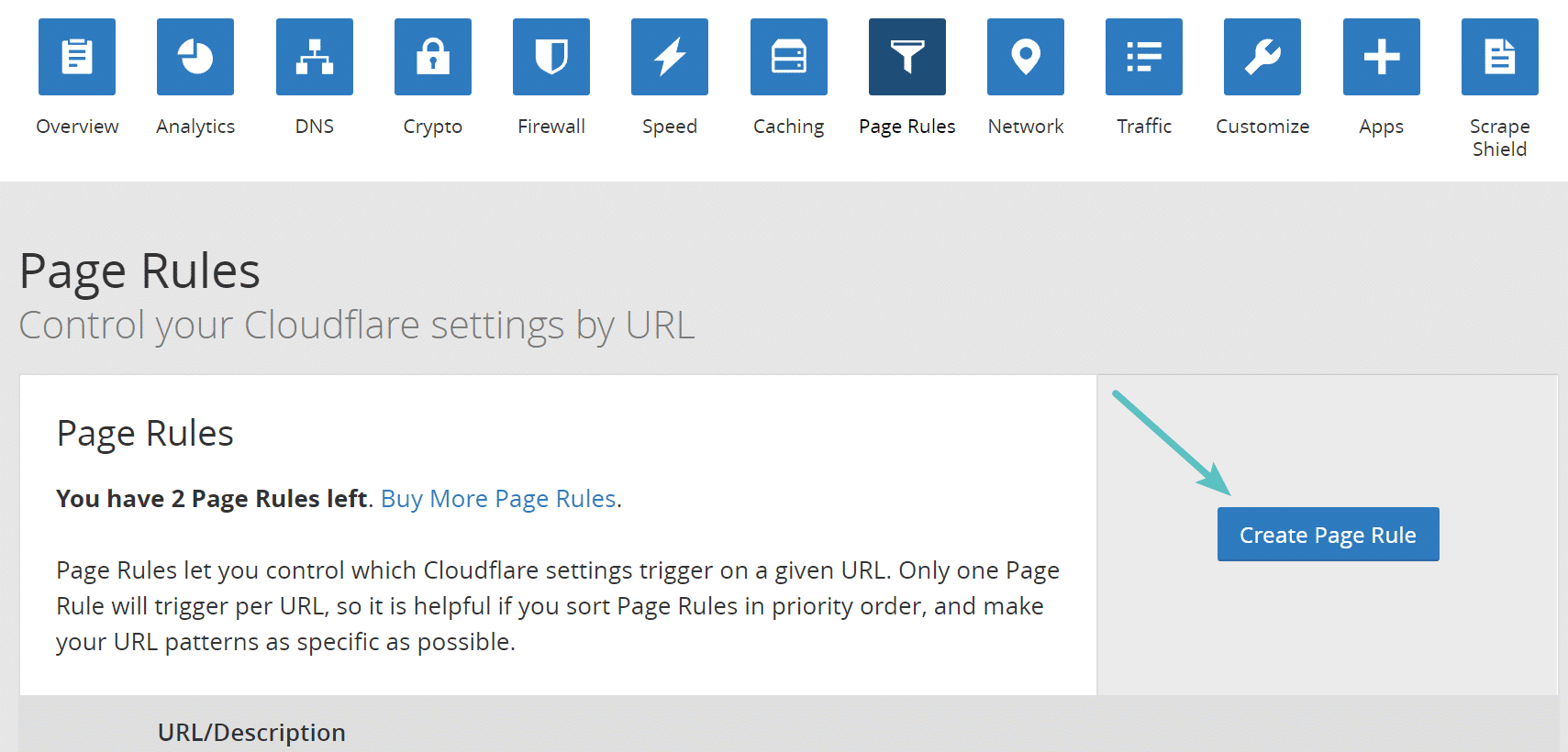 Create Cloudflare page rule