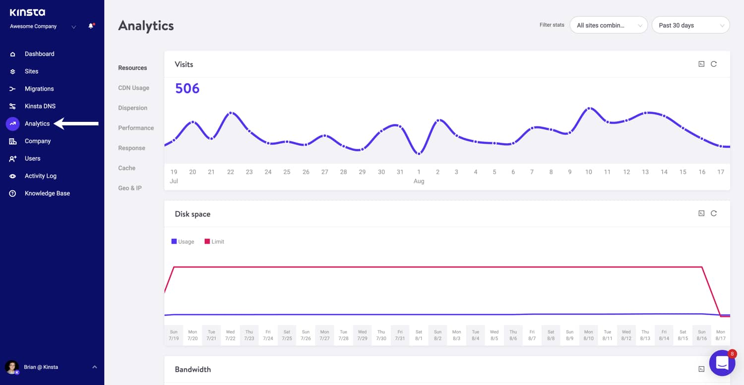 Access MyKinsta analytics.