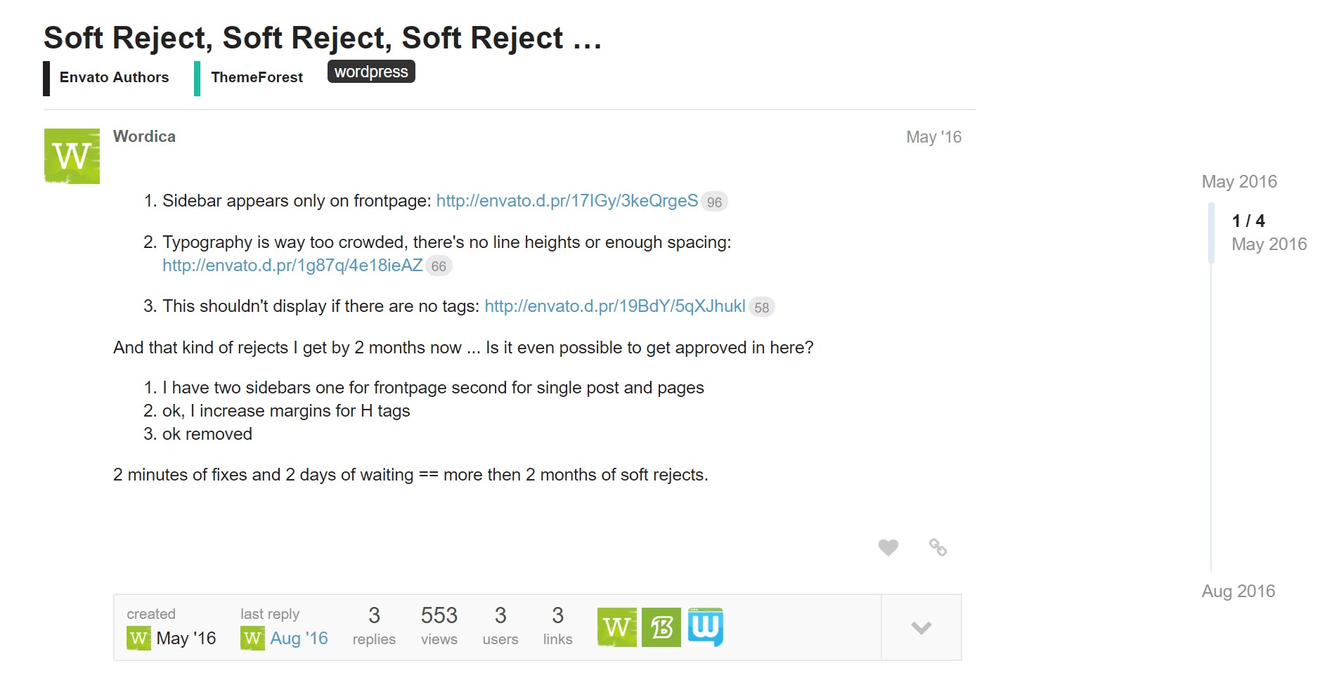 Rejected on ThemeForest