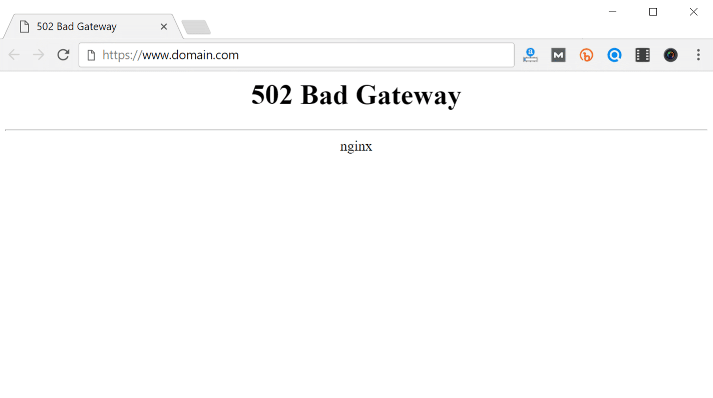 502 bad gateway error in browser