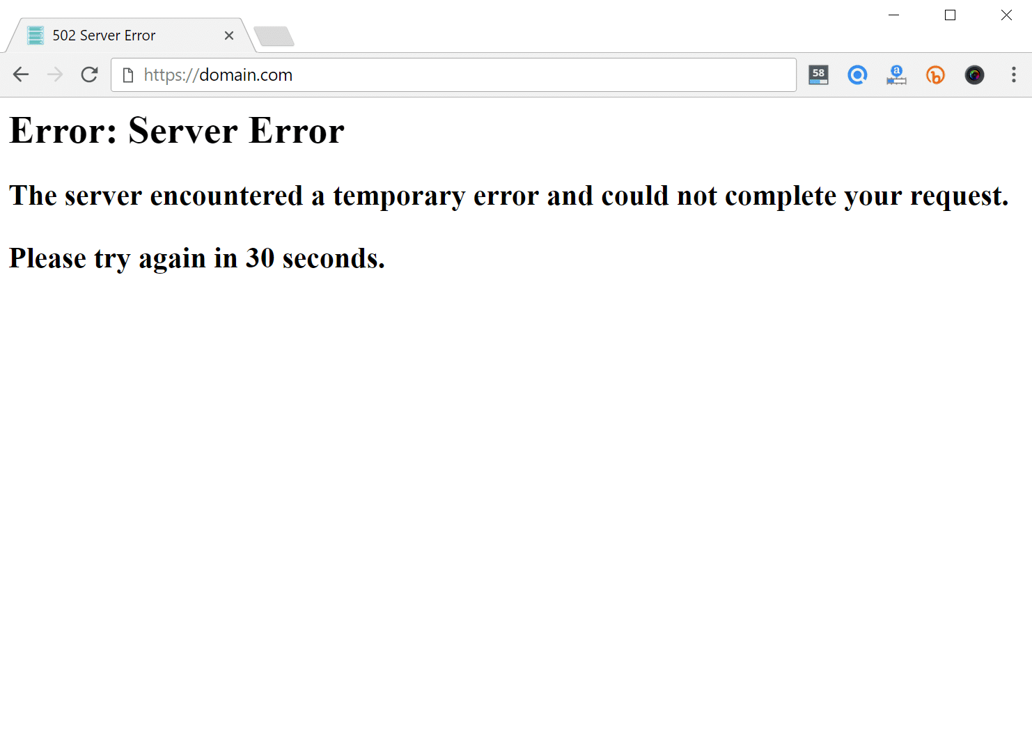 502 server error in browser
