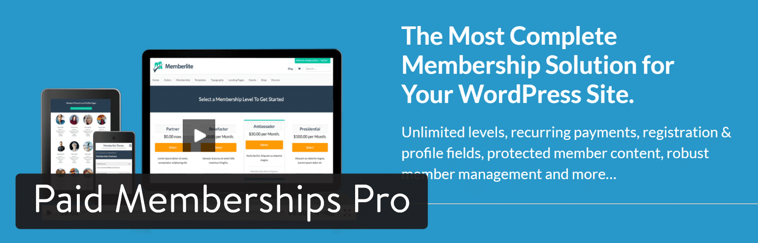 Plugin WordPess Paid Membership Pro
