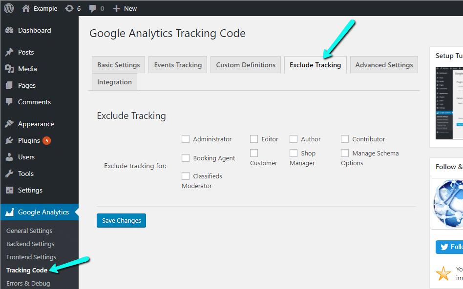 Excluir determinadas funções de usuário do rastreamento