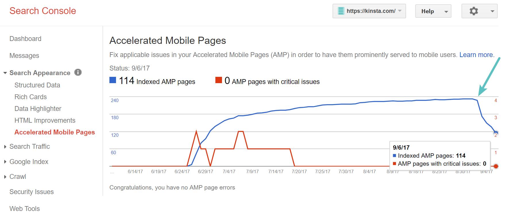 Google Search Console - Google AMP removal